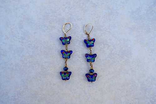 Cloisonne Triple Blue Butterflies