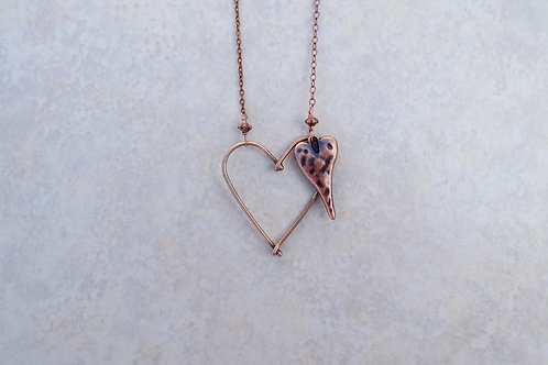 Fused Bronze Heart with Skinny Heart