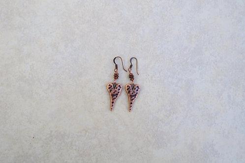 Puffy Copper Heart Earrings