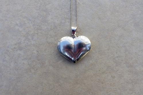 Puffed Silver Heart Pendant