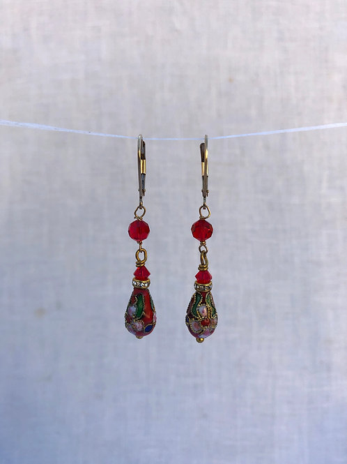 Red Cloisonne Teardrops and Crystal Gold
