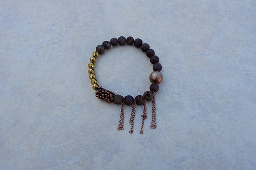 Brown Drusy and Copper Stretchy Bracelet