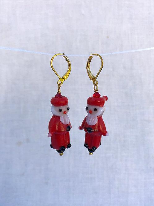Santa Glass Earrings