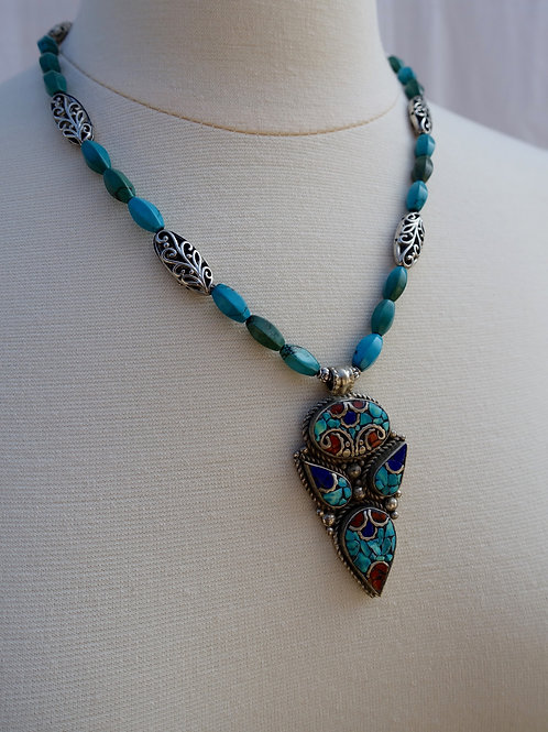 Inlay Nepalese Pendant Necklace