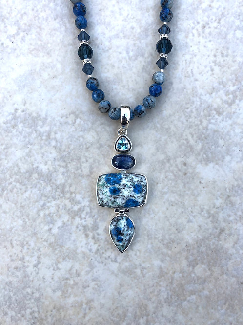 Blue Spotted K2, Iolite and Blue Topaz