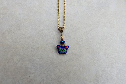 Petite Blue Cloisonne Butterfly Necklace