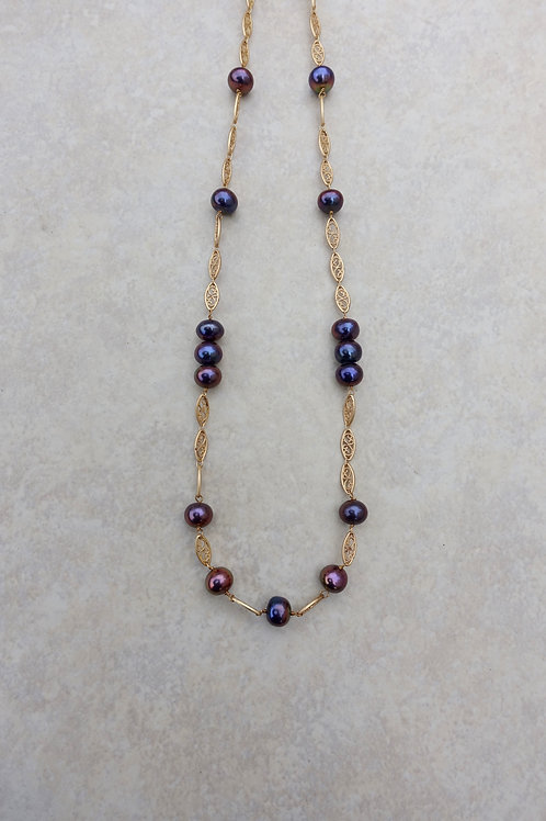 Purple Blue Pearl and Filigree Necklace