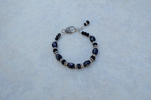 Black Crystal and Faceted Glass Bracelet