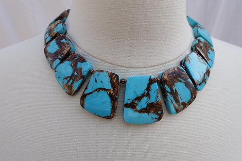 Turquoise Paddle Collar Necklace