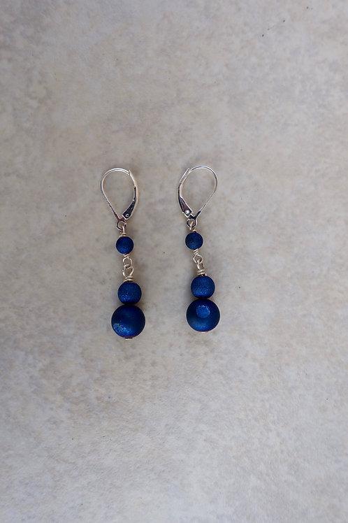 Navy Blue Drusy Earrings