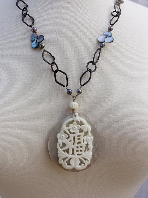 Asian Carved Bone and Mother of Pearl