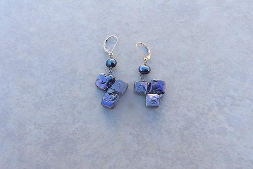 Triple Square Blue Pearl Earrings