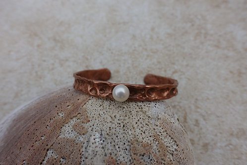 Copper Air Chased Texture and Pearl Bracelet