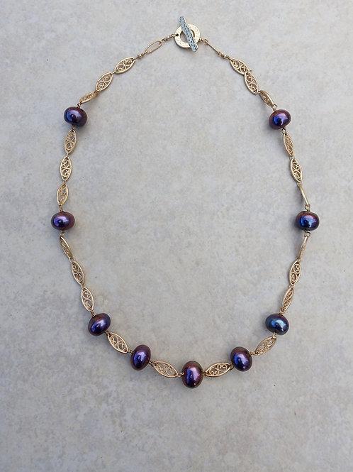 Blue Purple Fresh Water Pearls and Filigree Chain
