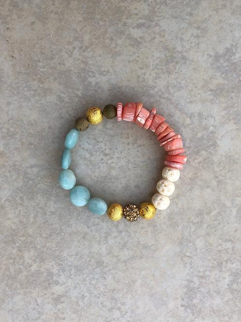 Amazonite, Coral, Bone Bracelet