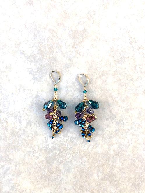 Peacock Colored Dangle Earrings