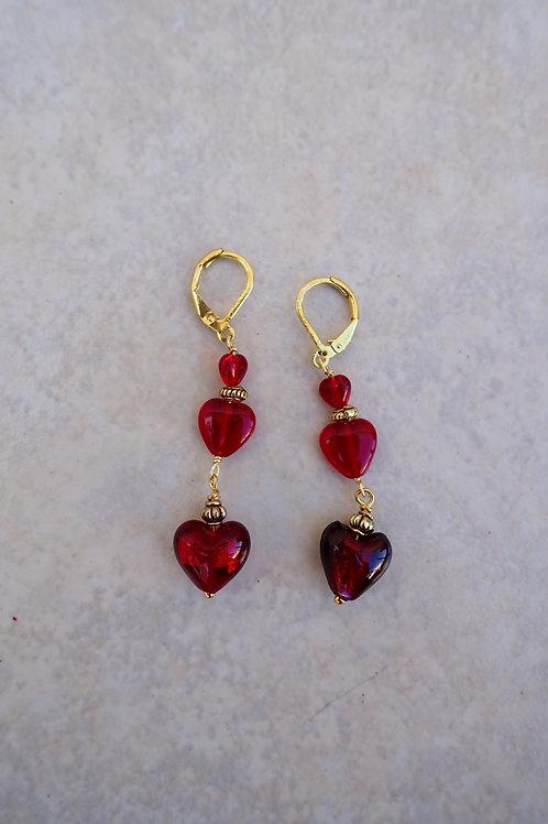 Triple Glass Hearts Earrings Gold