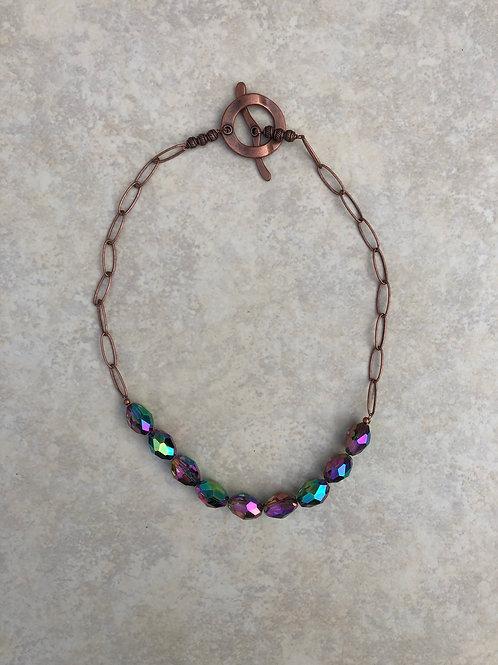 Purple Crystal Copper Necklace