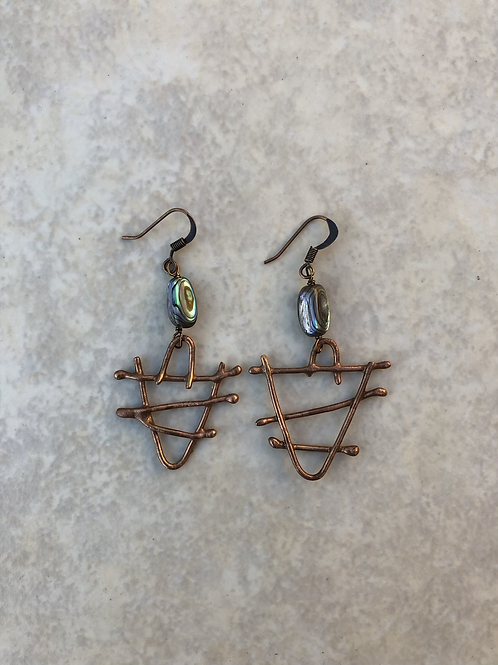 Bronze and Abalone Earrings