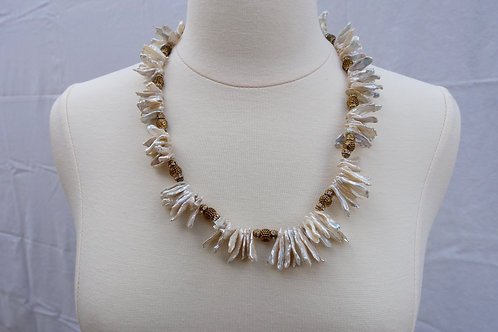 Kishi Pearls and Gold Pewter Necklace