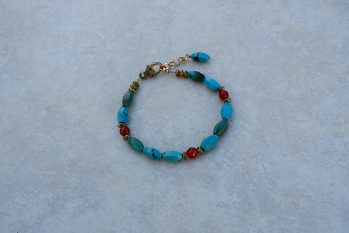 Magnesite Turquoise and Carnelian