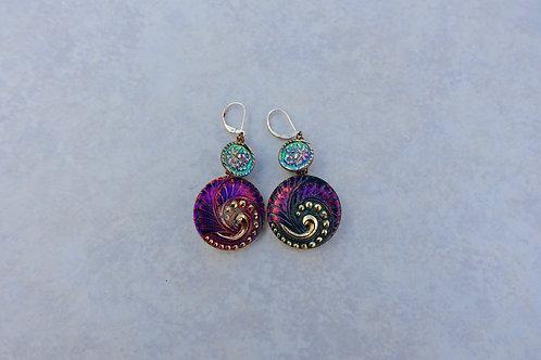 Czech Pink Purple Green Swirl Earrings