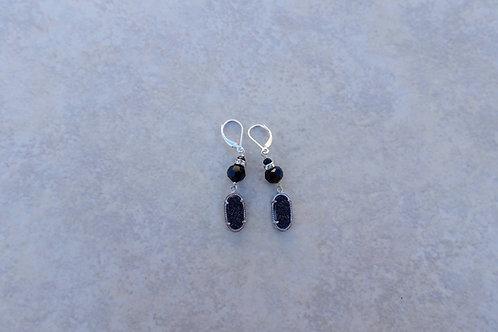 Black Drusy and Crystal Earrings