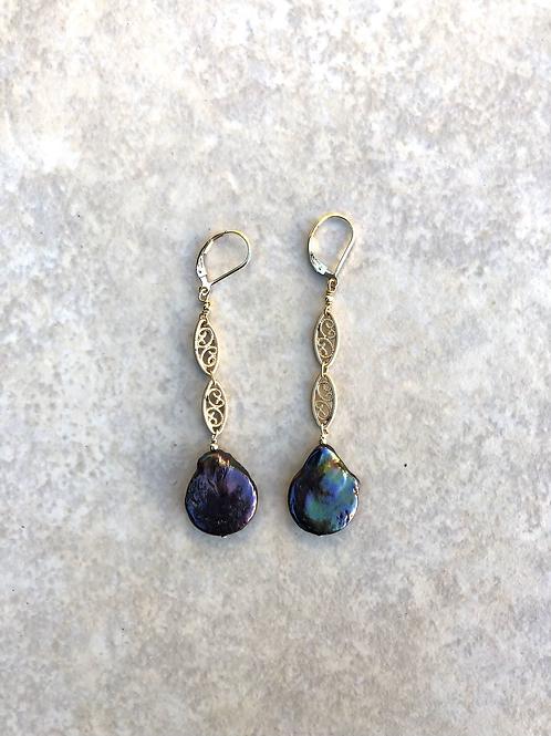 Dark Blue Pearls and Filigree Earrings