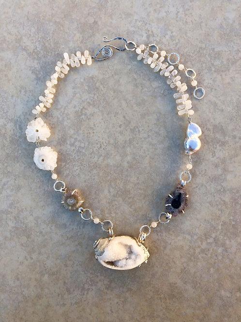 Spiralite, Stalagmites and Moonstone Necklace