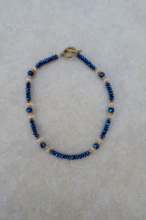 Navy Blue Crystal Necklace