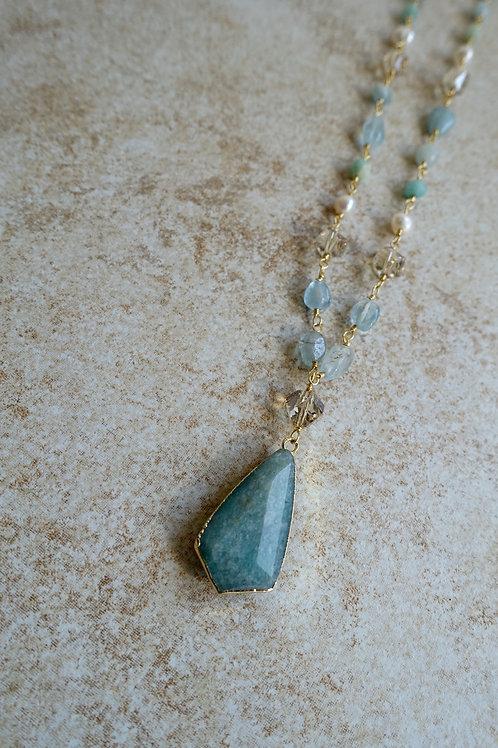 Amazonite, Aquamarine, Pearl and Crystals
