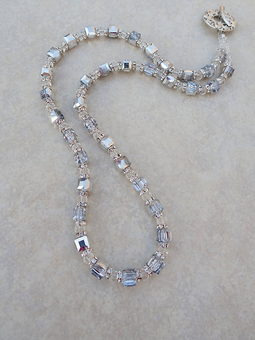 Square Silver Crystal Long Necklace