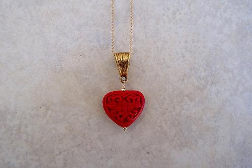 Red Cinnabar Heart Necklace