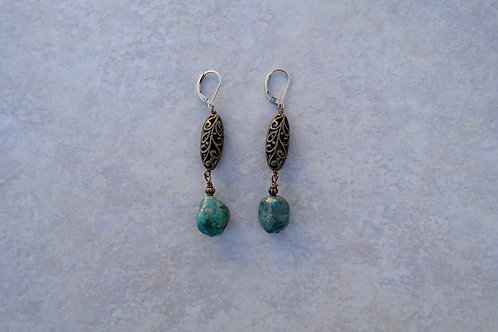 Turquoise and Brass Filigree Earrings