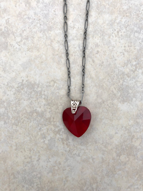Red Crystal Heart and Silver Color