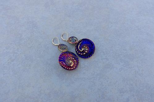 Czech Pink Purple Swirl Earrings
