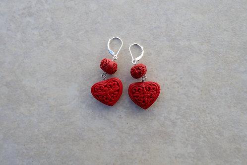 Red Cinnabar Heart Earrings