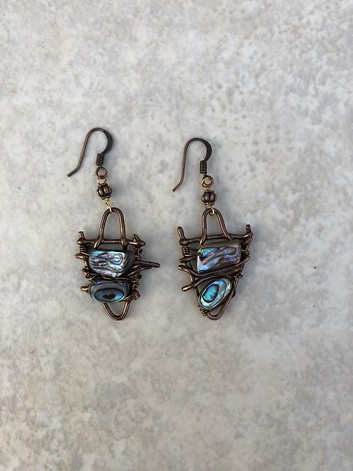 Abalone on Fused Bronze Earrings