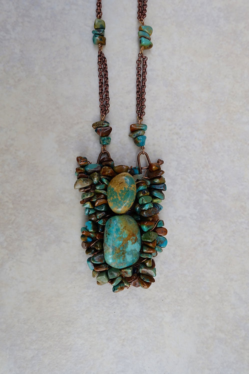 Fused Bronze Woven Chinese Turquoise