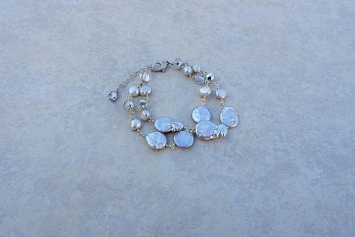 Double Stranded Silvery Gray Pearl Bracelet