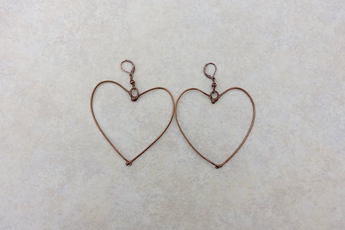Bronze Extra Large Heart Earrings