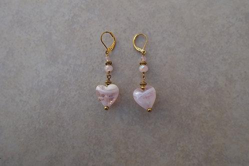 Pink Glass Hearts Earrings