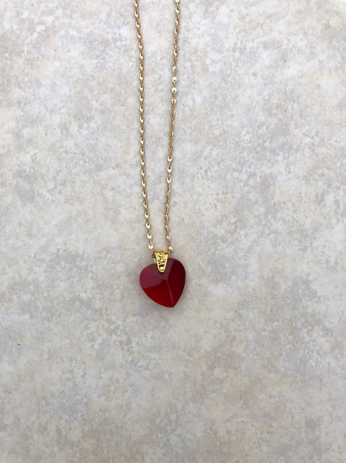Red Crystal Heart with Gold Toggle