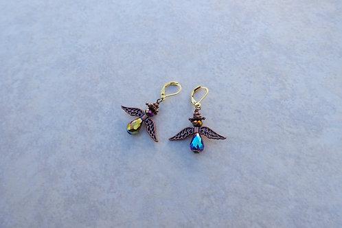 Dark Purple and Blue Angel Earrings