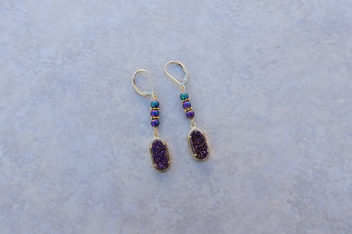 Purple Drusy Earring