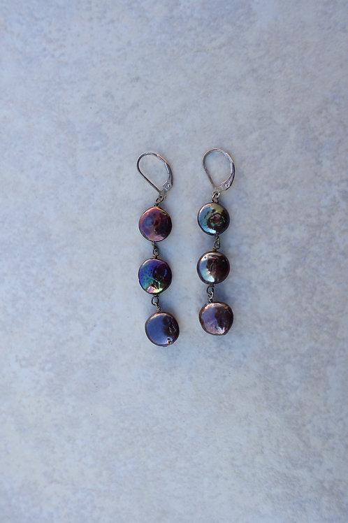Blue Purple Triple Coin Pearl Earrings