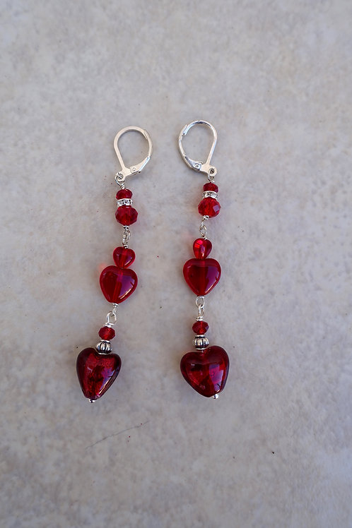 Triple Glass Hearts and Crystal