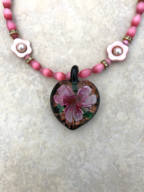 Pink Flower in Black Glass Necklace
