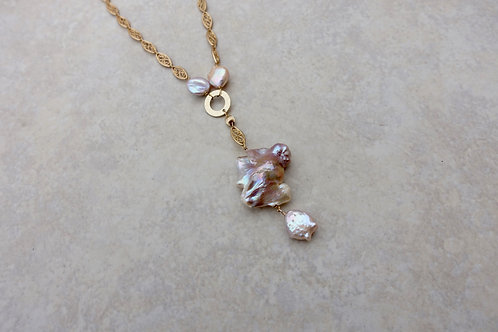 Baroque Pink Pearl Filigree Necklace
