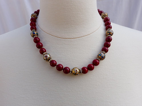 Red Jade and Cloisonne Neacklace